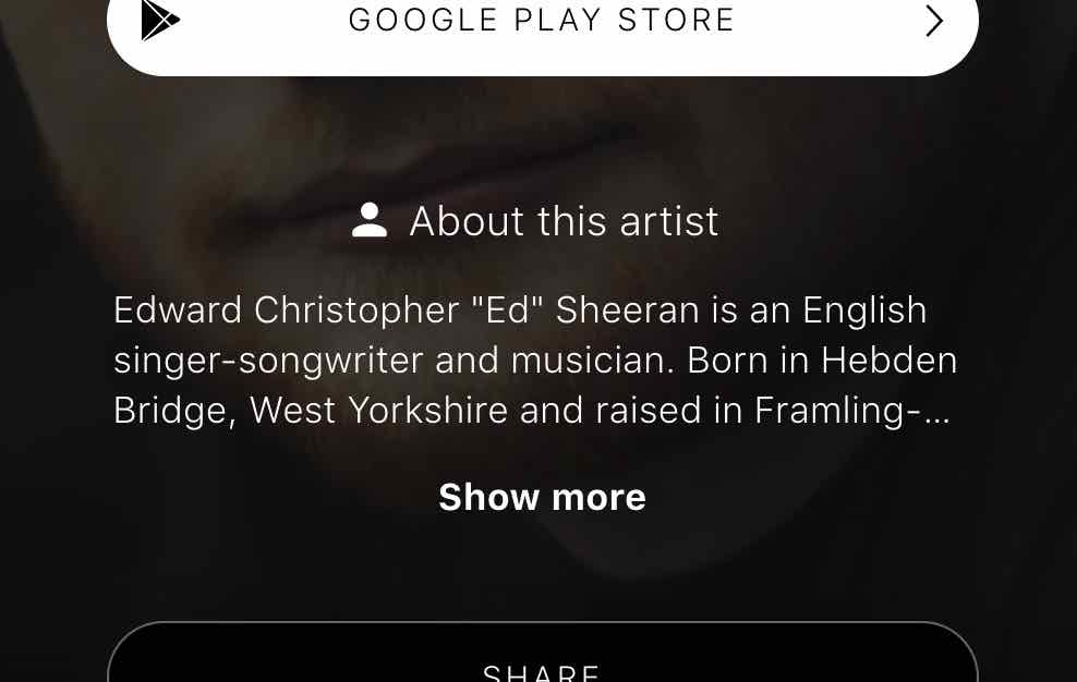 screenshot of Ed Sheeran's artist bio on Songwhip